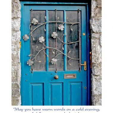 Blue shamrock door birthday