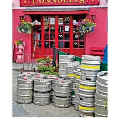 Connolly's irish pub with kegs of beer in front birthday card