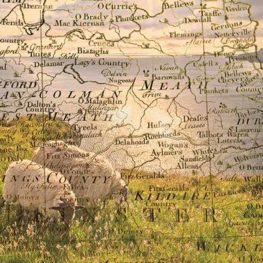 Irish vintage map overlay card